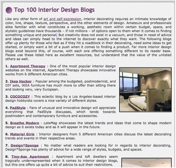 top 10 interior design blog