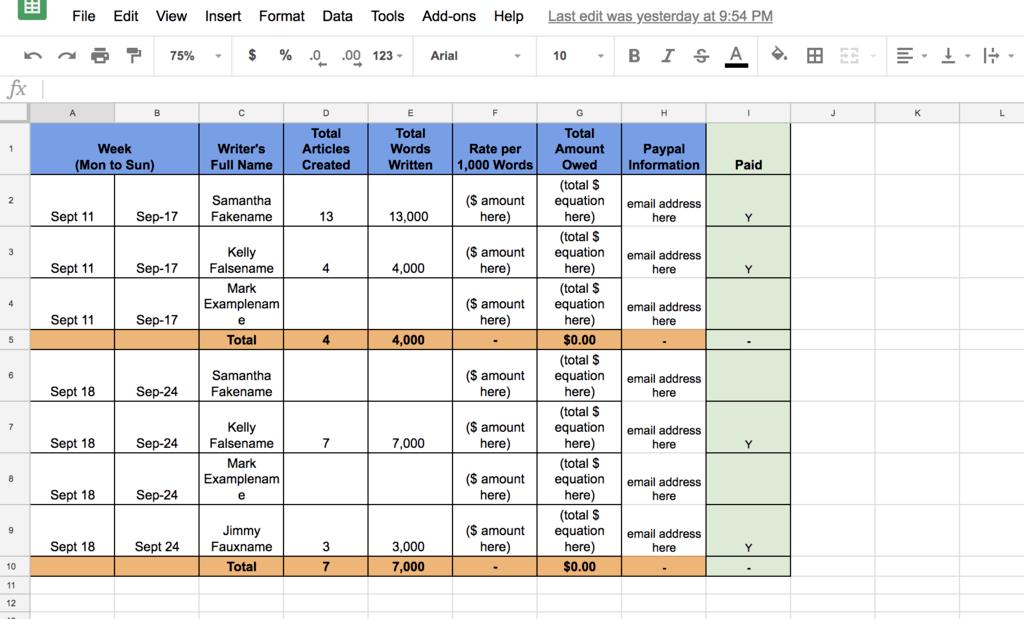 paysheet timetable
