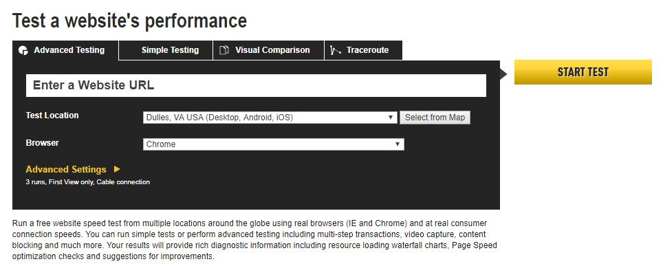 WebPageTest-website-checker-tool