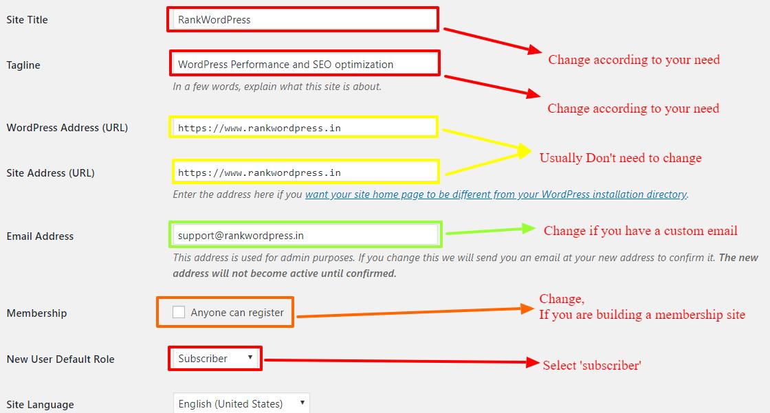 general-settings-wordpress-site